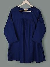 Solid Blue Round Neck Cotton Top - PLUSS