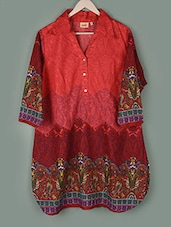 Printed Shirt Collar Cotton Tunic - PLUSS