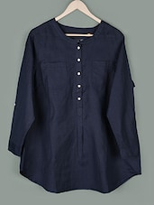 Navy Blue Long Sleeves Cotton Top - PLUSS