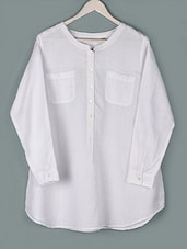 White Long Sleeves Cotton Top - PLUSS