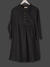 Anthracite Grey Shirt Collar Cotton Top - PLUSS