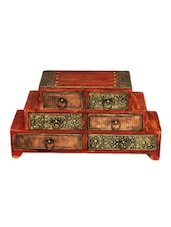 6 Drawer Embossed Wooden Chest - Woodworks - 1028862