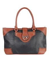 Rectangular Black PU Handbag - LOZENGE