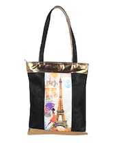 Eiffel Tower Print Black Tote - LOZENGE