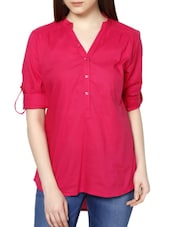 Button -Up Sleeves Cotton Shirt Tunic - MARTINI