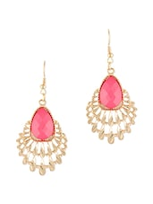 Pink Alloy Peacock Inspired Drop Earrings