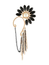 Black Crystal Floral Ear Cuff With Dropdown Chains - Young & Forever