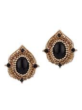 Black Stone Crystal Studded Earrings - Addons
