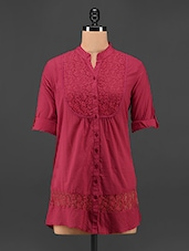 Mandarin Collar Red Lace Top - Being Fab