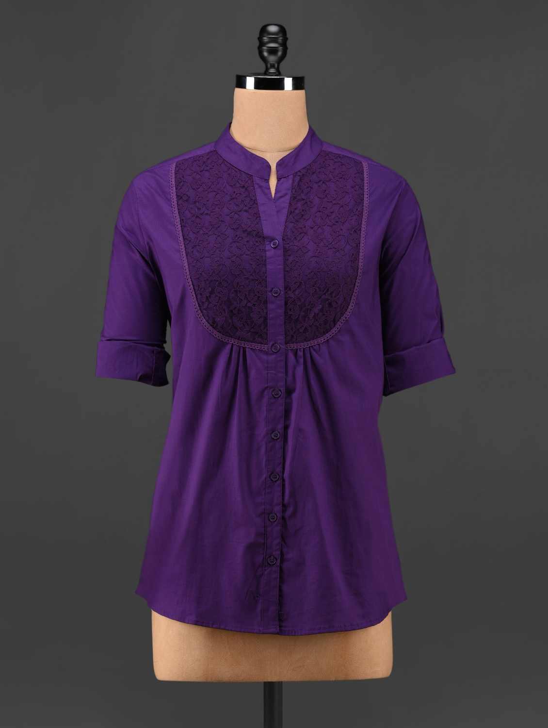 Purple Lace Yoke Top - Being Fab