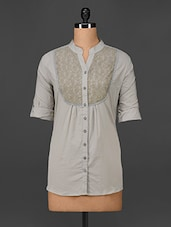 Mandarin Collar Lace Yoke Top - Being Fab