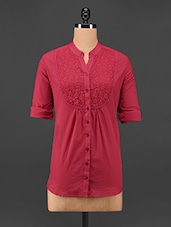 Mandarin Collar Red Lace Yoke Top - Being Fab