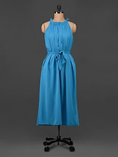 Blue Georgette Halter Neck Long Dress - Being Fab