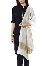 Off White, Gold Silk, Cotton, Chanderi Dupatta - By