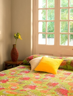 Green Kantha Bed Cover - Art Age