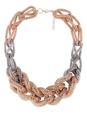 Gold & Silver Tone Entangled Chain Necklace - Shining Diva Fashion