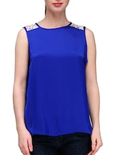 Royal Blue Lace Back Yoke Satin Top - KARYN