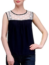Navy Blue Lace Yoke Sheer Chiffon Top - KARYN