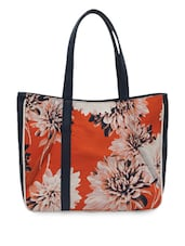 Blue Leatherette Floral Printed Handbag - Bagsy Malone