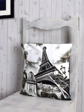 Eiffel Tower Printed Poly-velvet Cushion Cover - RAGO