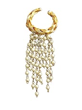 Adjustable 18 Kt Gold Plated Wired Ganthan Pearl Ring - Rejuvenate Jewels