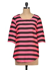 Striped Poly Crepe Round Neck Top - Queens