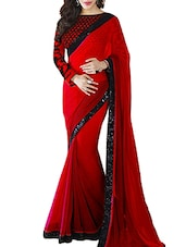 red georgette bordered saree -  online shopping for Sarees