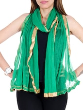 Green Net Plain  Dupatta - By
