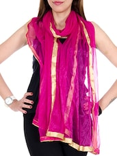 Pink Net Plain  Dupatta - By