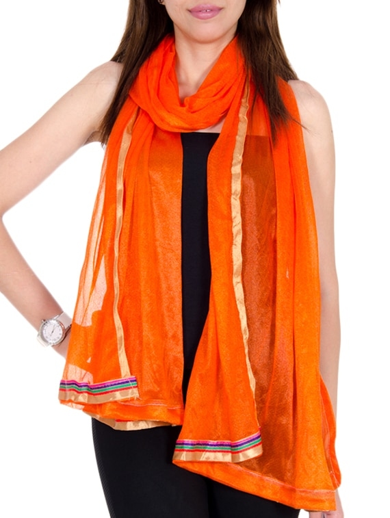 Orange Net Plain  Dupatta - By