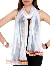 White Net Plain  Dupatta - By