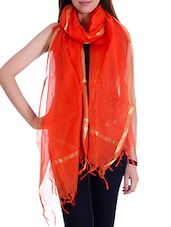 Orange Silk Blend Plain  Dupatta - By