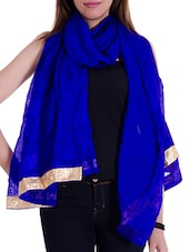 Blue Art Silk Plain  Dupatta - By