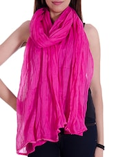 Pink Cotton Plain  Dupatta - By