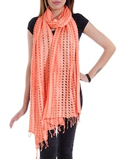 Peach Cotton Plain  Dupatta - By