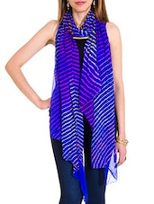 Blue Chiffon Leheria Dupatta - By