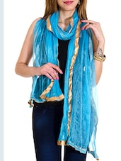 Blue Net Plain  Dupatta - By