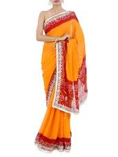 Orange-Bandej Print Embroidered Georgette Saree - Manaysa