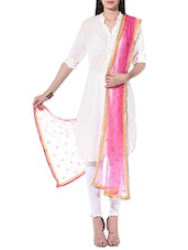 Blushing Couture Pink Embellished Net Dupatta - By