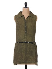 Green Cotton Dress With Belt - The Vanca