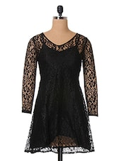 Black Full Sleeve Lace Dress - The Vanca