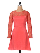Pink Floral Lace Polyvelvet Dress - The Vanca