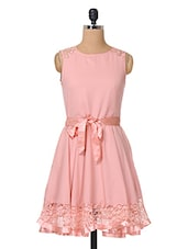 Pink Plain Solid Polycrepe & Lace Dress - The Vanca
