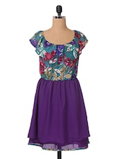 Multicolor Floral Printed Georgette Dress - The Vanca