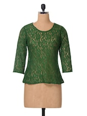 Green Plain Solid Nylon Lace Top - The Vanca