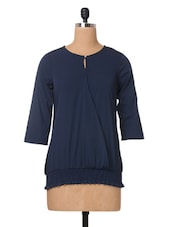 Blue Plain Solid Polycrepe Top - The Vanca