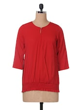 Red Plain Solid Polycrepe Top - The Vanca