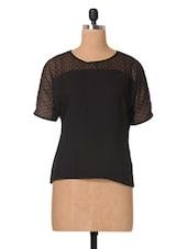 Black Plain Solid Georgette Top - The Vanca