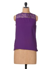 Purple Sleeveless Polycrepe & Lace Top - The Vanca