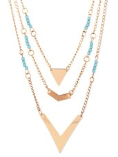 Blue And Gold Metal Alloy Necklace - By